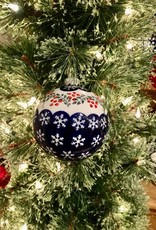 Christmas Ball Ornament - Snowflakes w/Red Berries (D1005)