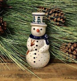 Snowman Statuette - Green Trees (D914)