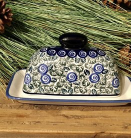 Butter dish (Maselnica) Green w/Blueberries  (A1073) - Single Stick