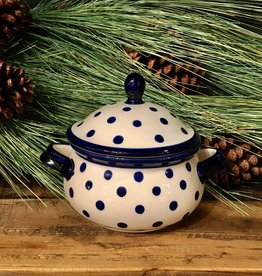 Soup Bowl Tureen - White w/Blue Dots  - .75L (25 oz)