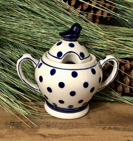 Sugar Bowl - White w/ Blue Dots - Bird On Lid - (D37)