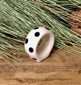 Napkin Ring - White w/Blue Dots (D37)
