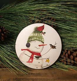 Snowman Disc Ornament, 4 Assorted