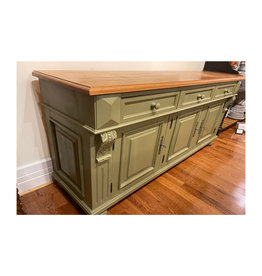 "3 Door Buffet, 35.5""Hx63""Wx21.5""D - Distressed Sage Green / Natural Top"