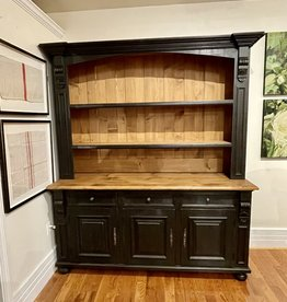 Hutch with 3 doors. Distress' Black / Waxed top. 7 ' x 6' x 21 1/2""