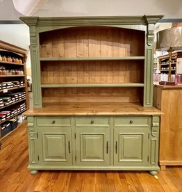 Hutch with 3 doors. Distress' Sage Green / Waxed top. 7 ' x 6' x 21 1/2""