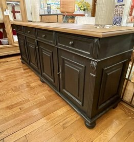 "4 Door Buffet, Distressed Black, Natural Waxed Top. 84"" x 21.5"" x 35.5"""