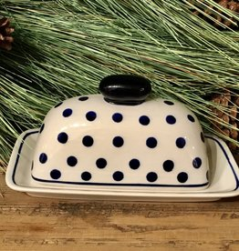 Butter dish - White w/Blue Dots  (D37) - Single Stick