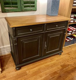 "2 Door Buffet,  45""x20.5""x35.5"" Distress' Black / Waxed top"