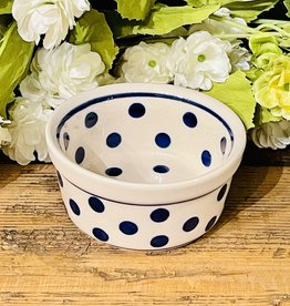 "Ramekin - White W/ Blue Dots (D37)  3.5"" x 1.75"""