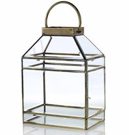 """Glass Lantern 10.25""""x 6.75""""x 14"""""""