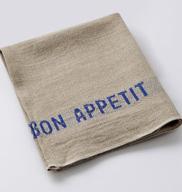"""Charvet Editions - Napkin/Placemat Bon Appetit Natural/Blue 17"""" x 13"""""""
