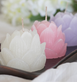 "Lotus Bloom Candle - 2.5"" x 2"" - White"