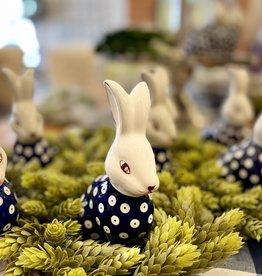 Polish Pottery Bunny Rabbit - Blue/White Dots