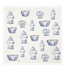 """Blue Jars Cotton Square / Tea Towel - 28"""" x 28"""""""