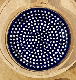 Dinner Plate - Blue w/White Dots (Blue Rim)