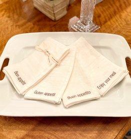 Charvet Editions - Napkins Mecano White (Bon Appetit)- Set of 4