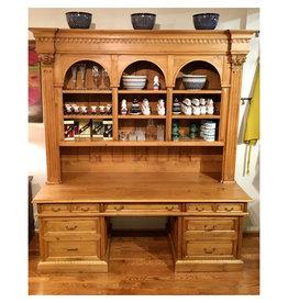 "Desk / Bookcase. 94"" x 84"" x 29.5"" Distress' Natural"