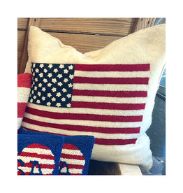 """American Flag pillow  20"""" - hand felted 100% wool Down Filled"""