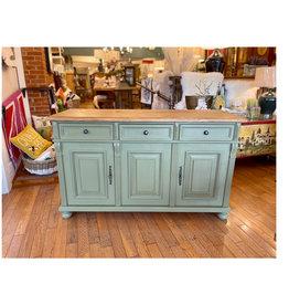 "3 Door Buffet, 35.5""Hx60""Wx21.5""D - Distressed Sage Green / Natural Top"