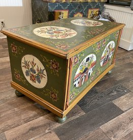 Hand-Painted Green Trunk With Bohemian Queen & Florals