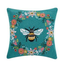 """Bee Wreath Hook Pillow  - 18"""" X 18"""""""
