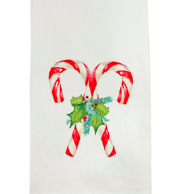 Towel - Candy Canes with Greens