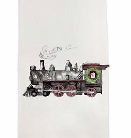 Towel - Black Train w/Wreath