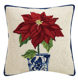 Holiday Chinoiserie Poinsettia Hook Pillow 16x16
