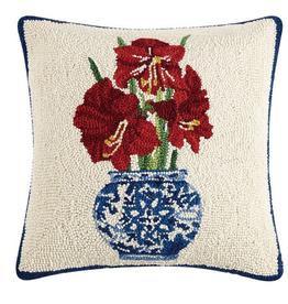 Holiday Chinoiserie Amaryllis Hook Pillow 16x16