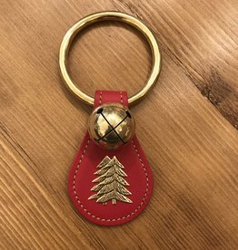 Belsnickel Bells DOUBLE TREE CHARM on Teardrop, 1 Solid Brass Moyer Bell, Lg Ring Top - RED