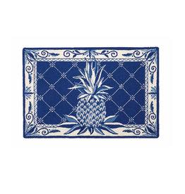 """BLUE PINEAPPLE HOOK RUG 27X40"""""""