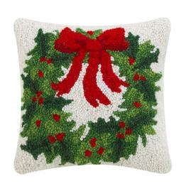 "Holiday Wreath Hook Pillow - 10"" x 10"""