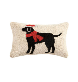"Christmas Black Lab Hook Pillow - 8"" x 12"""