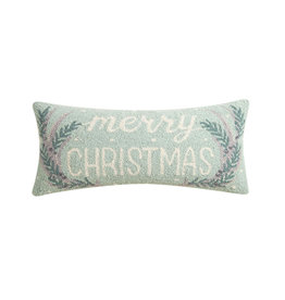 """Merry Christmas Antlers Hook Pillow -   12"""" X 22"""""""