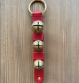 Belsnickel Bells Solid Brass Belsnickel Bells, Keepers, Lg Ring Top, Rivet Bottom - RED