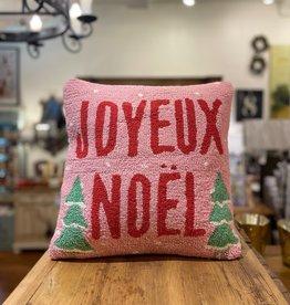 """Joyeux Noel (Pink) Hook Pillow - 16"""" x 16"""""""