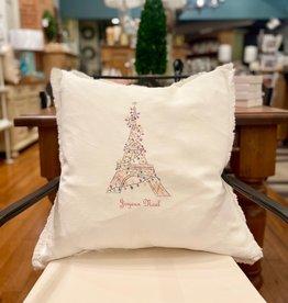 Pillow - Eiffel Tower w/Lights (Joyeux Noel) - Linen
