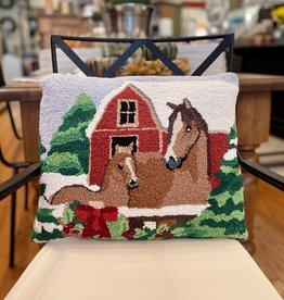 "Holiday Horse Pair Hook Pillow - 16"" x 20"""