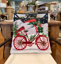 "Jingle Bike Hook Pillow 18"" X 18"""