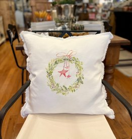 "Wreath With Stars Linen Pillow - 24""x24"""