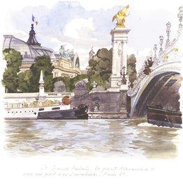 """Le Grand Palais, le pont Alexandre III vues du port des Invalides Greeting Card - 6"""" x 6"""""""