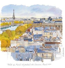 """Toits de Paris et Palais du Louvre Greeting Card - 6"""" x 6"""""""
