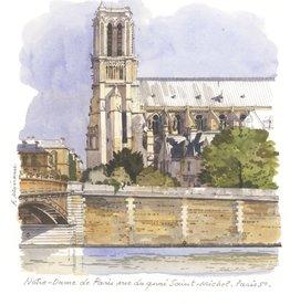"""Notre-Dame de Paris vue du quai Saint-Michel Greeting Card -  6"""" x 6"""""""