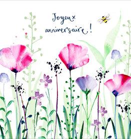 "Joyeux Anniversaire Poppies (Louise Mulgrew) Greeting Card - 6"" x 6"""