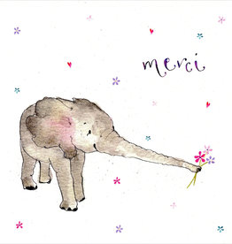 "Merci Elephant (Louise Mulgrew) Greeting Card - 6"" x 6"""