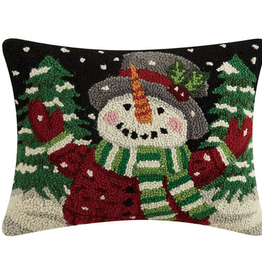 """Jolly Snowman Hook Pillow - 12"""" X 16"""""""
