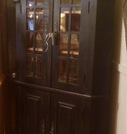 Corner Cabinet - Black w/Glass