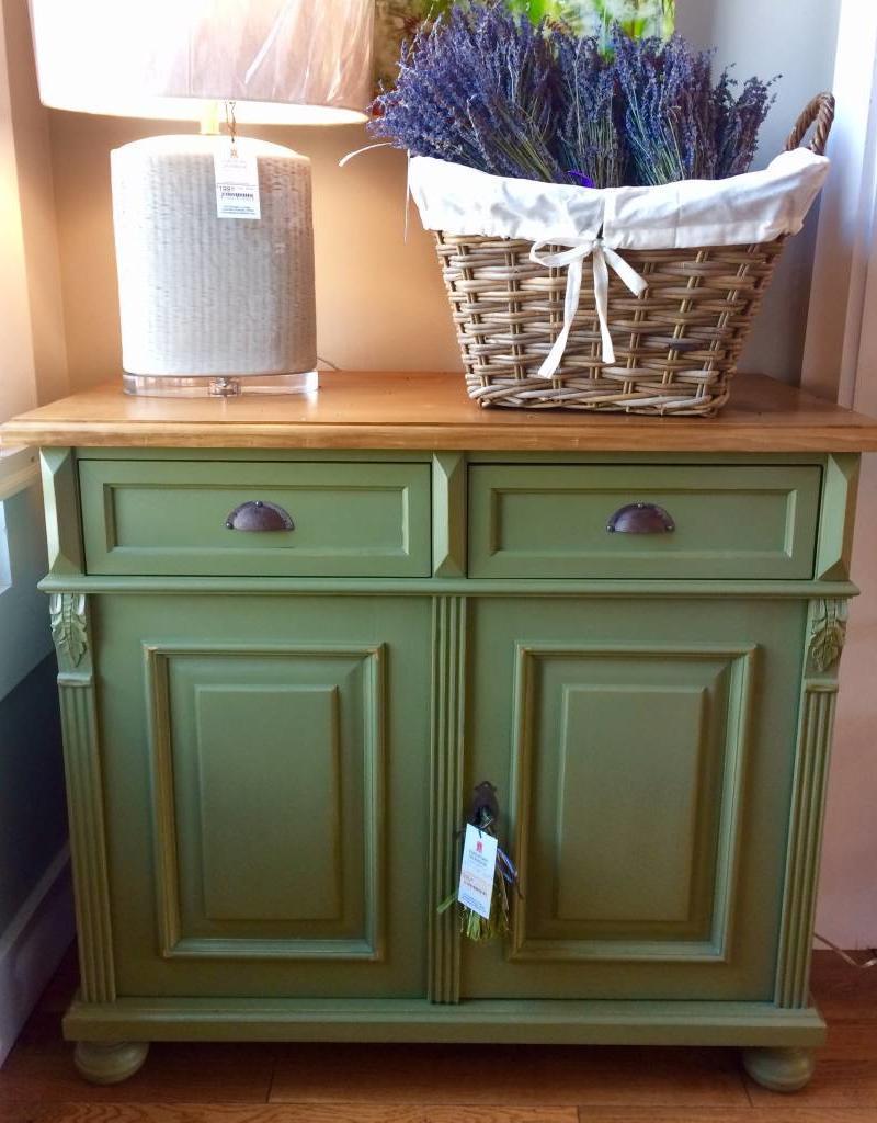 2 Door Buffet - Sage green / Waxed Top
