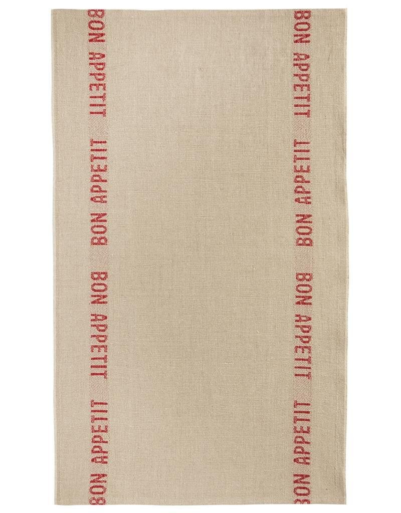 "Charvet Editions - Bistro/Tea Towel Natural & Red Bon Appetit - 18""x30"""